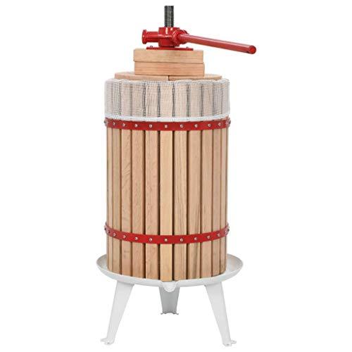 Kjzeex Obst- und Weinpresse mit Stoffbeutel 24 L Eichenholz