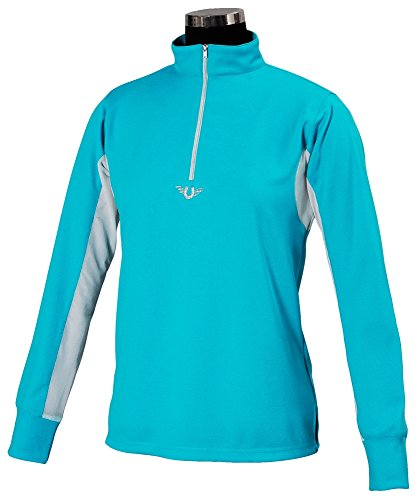 TuffRider Children's Ventilated Technical Long Sleeve Sport Shirt with Mesh, Aqua, X-Large