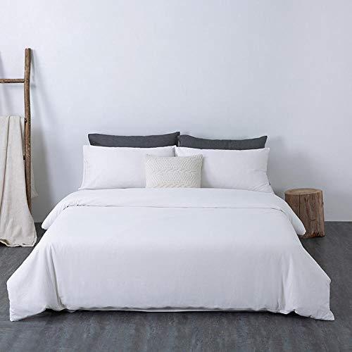 Bedding Juego de Funda ,Lave la Colcha de algodón Doble Acolchada de algodón de una Sola Pieza, Blanco Puro_200 * 230cm,Funda nordica