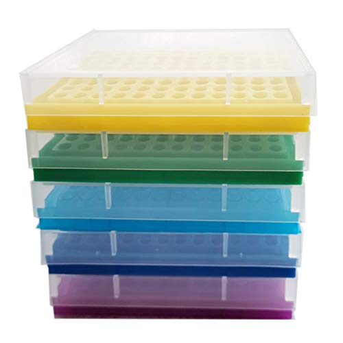 PCR Tube Rack für 0,2 ml Mikro-Röhren, 8 x 12 Matrix 5 Stück (blau/hellblau/gelb/lila/grün)
