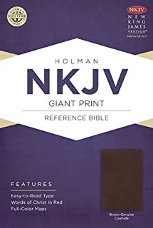NKJV Giant Print Reference Bible, Brown Genuine Cowhide