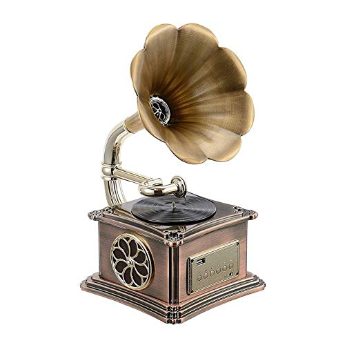 JIE KE Carillon Funzione Bluetooth retrò del grammofono, Tromba del Giradischi Vintage con unità Flash USB Integrata
