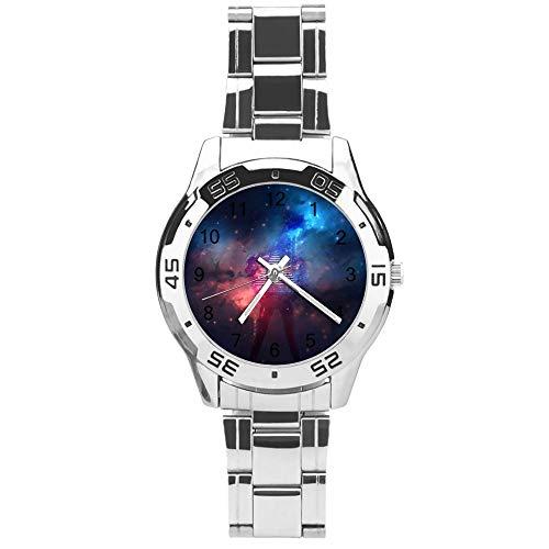 Klassiek driehands kwarts horloge met roestvrij stalen band, wijzerplaat ladder sterrenhemel, verstelbare automatische riem, zilver, voor uniseks, beste cadeau (41mm) lmsvvd2p4kje, regular, Patroon1-8