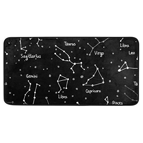 Bardic anti-slip deurmat sterrenbeeld ster patroon deurmat machine wasbare slaapkamer mat voor het leven dineren kamer slaapkamer keuken,50.8x99cm
