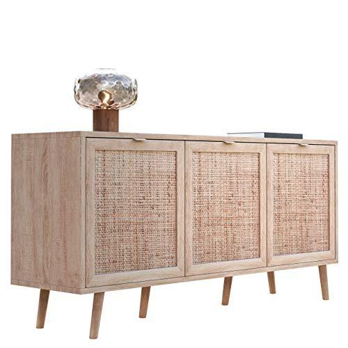 Newfurn Sideboard Sonoma Eiche Rattan Optik Kommode Modern Skandinavisch - 150x71x40 cm (BxHxT) - Highboard Anrichte Boho - [Mila.Four] Wohnzimmer Schlafzimmer Flur Esszimmer