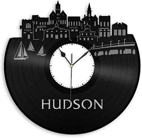 xiayanmei Hudson Vinyl Wandklok City Skyline Beste cadeau voor kantoor en slaapkamer | Home Decoration