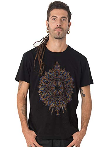 Street Habit Camiseta Negra Estampada de Mandalas Sol Mexica - Ropa psicodélica Exclusiva para Hombre 100% algodón, Talla M