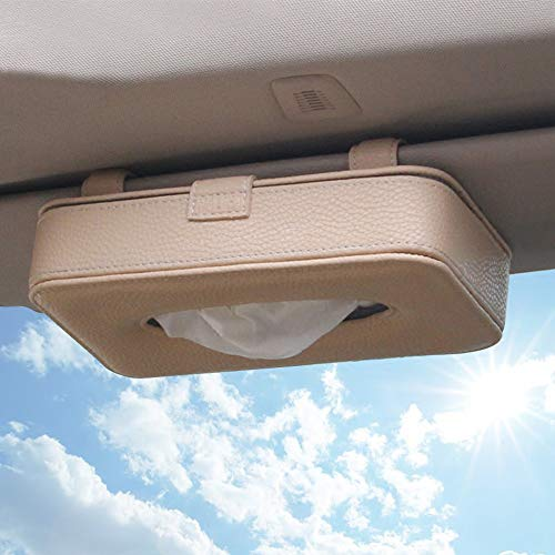 HerMia Luxury Leather Car Visor Tissue Holder Mount, Hanging Tissue Holder Case for Car Seat Back, Multi-use Paper Towel Cover Case with One Tissue Refill for Car & Truck Decoration (1-Beige-Visor)