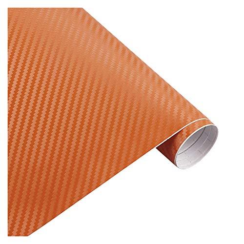 SONGYG 200cm * 30cm 3D-Carbon-Faser-Vinylfilm 3M Auto-Aufkleber wasserdichtes DIY Motorrad Automobil Car Styling-Verpackungs-Rollen Zubehör Lackschutzfolie (Color Name : 3D orange)