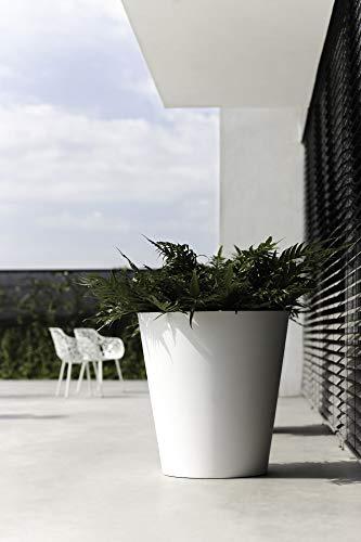 Elho Pure Straight Round Macetero Redondo, White, 35 cm