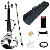 Kinglos 4/4 Schädel Farbig Massivholz Mittlere-A Elektrische Violine Geige Set mit Ebenholz Beschläge (DSZA1312)