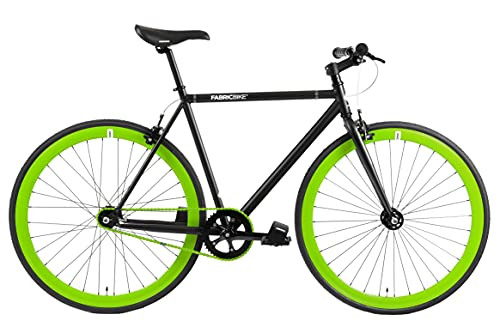 FabricBike- Bicicleta Fixie, piñon Fijo, Single Speed, Cuadro Hi-Ten Acero, 10,45 kg. (Talla M) (L-58cm, Matte Black & Green)