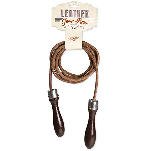 CSG Vintage Leather Jump Rope with Wood Handles