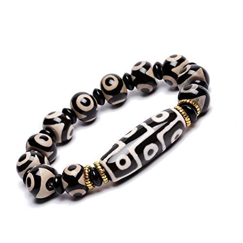 ZenBless Natürliches schwarzweißes tibetisches 9-Auge-Armband mit Dzi-Perlen, Fengshui-Amulett-Armreif zieht positive Energie und Glück an.