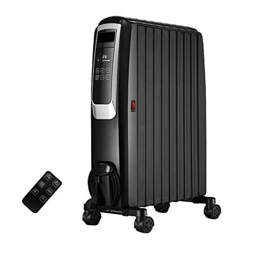 XYSQWZ Radiador Enfriador De Aceite Doméstico 2.2kw - Eléctrico Portátil 3 Configuraciones De Energía Temperatura Ajustable Corte De Seguridad Térmica Y Temporizador De 12 Horas - Negro