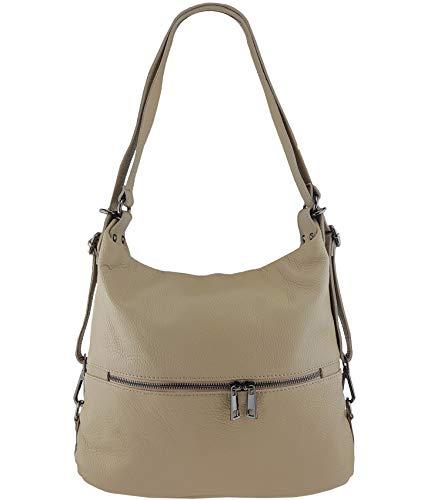 Freyday 2in1 Rucksackhandtasche Designer Damen Handtasche Henkeltasche 100% Echtleder (Taupe)