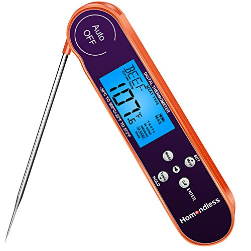 Meat Thermometer, 2021 Digital Cooking Thermometer Instant Read with 8 Types Temp Preset, Alarm, Voice Broadcast, Backlight, IPX7 Waterproof Food Thermometer for Kitchen