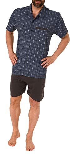 NORMANN-Wäschefabrik Eleganter Herren Shorty Pyjama Kurzarm zum durchknöpfen - auch in Übergrössen bis Gr. 70-191 105 90 512, Größe2:50, Farbe:dunkelgrau