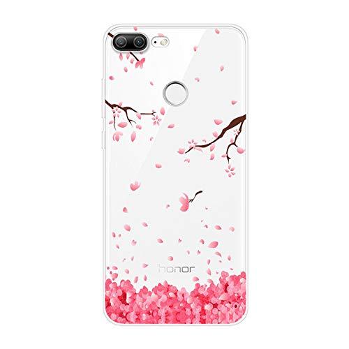 Urhause Kompatibel mit Huawei Honor 9 Lite Hülle TPU Silikon Bunt Schutzhülle,[Transparen Karikatur Silikonhülle] Hülle Gemalt,Ultra Slim Durchsichtig mit Muster Bumper Stoßfest Hülle,Kirsche
