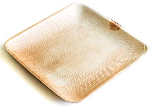 DISPOSABLE GREEN® | 25x25 cm Vierkante platen | 20 stuks | Palm Leaf | Biologisch afbreekbaar, Composteerbaar Palm Leaf Plates, Zeer Stijlvol en Stevig - 25 x 25 cm Vierkante platen [20 stuks]