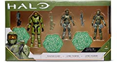 """Features 1 Master Chief figure, 2 UNSC Marine figures, 1 Assault Rifle Accessory, 1 Battle Rifle Accessory, 1 Commando Rifle Accessory, & 3 Terrain stands All 3 figures are fully articulated for maximum playability and posing possibility Every """"World..."""