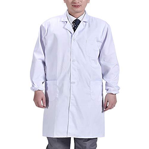 Exceart Weißer Laborkittel Arzt Arbeitskleidung Professionelle Sicherheit Schutz Insgesamt für Krankenschwester Arzt Frau Mann - Größe M