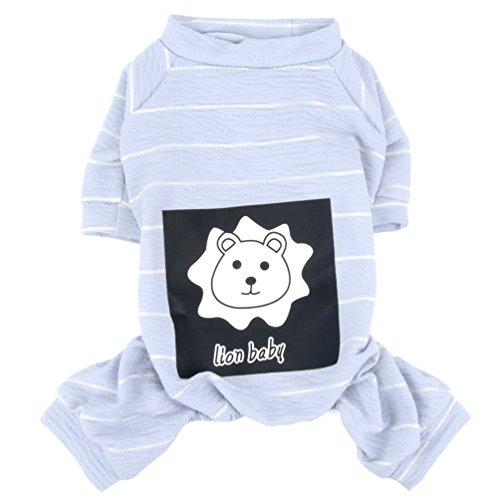smalllee_lucky_store Hundekleidung, gestreifter Schlafanzug, Löwen-Druck, weicher Strick-Overall für kleine Hunde, Grau M