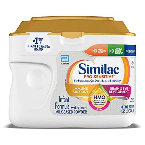 Similac Pro-Sensitive Infant Formula with Iron for Lactose Sensitivity, with 2'FL HMO for Immune Support, Non-GMO, Baby Formula Powder, 20.1oz Tub