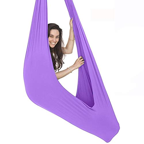 ZCXBHD Ajustable Terapia Columpios con Capacidad Carga 200Kg Hamaca Sensorial Yoga Aérea Ideal para Hamacas de Integración Sensorial (Color : Light Purple, Size : 100x280cm/39x110in)
