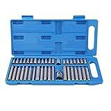 MWPO 40 Piezas Hex Star Torx Spline Socket bit Set Tool Kit Equipo de Herramientas de Garaje 1/2 Pulgada 3/8 Pulgada Unidad con una Caja Azul