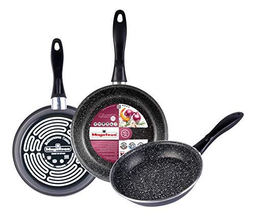 Magefesa 01108205 Set de poêles, Carbon Steel, Gris moucheté, Centimeters