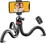 Cocoda Tripode para Movil, Flexible Tripodes Camaras con Rótula de Bola 360°, Trípode con Tornillo Universal de 1/4 Pulgadas y Control Remoto Bluetooth Compatible con iPhone Samsung GoPro