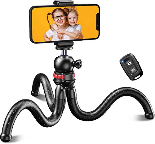 [Upgraded 2021] Flexible Trepied Smartphone, Cocoda Mini Trepied Appareil Photo avec 360° Tête pivotante, Télécommande Bluetooth, Compatible avec iPhone/Samsung/Huawei/Gopro/Camera, Style Octopus