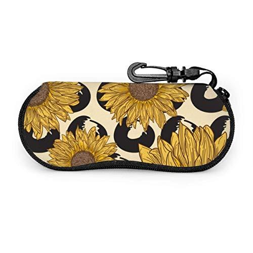 sherry-shop Étui à lunettes de soleil Retro Sunflower Travel Soft Neoprene Zipper Eyeglass Bag