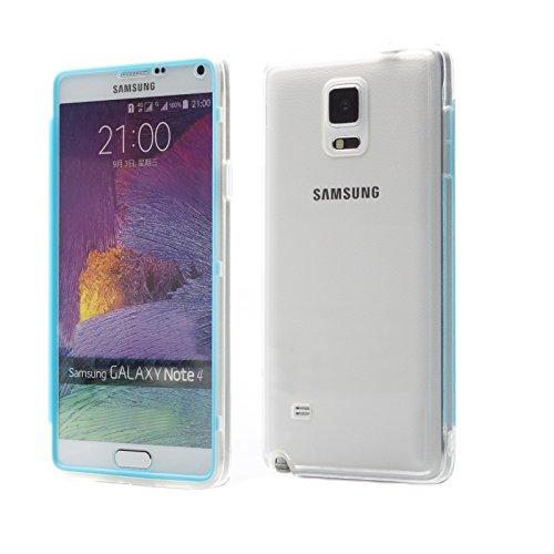 iCues Custodia compatibile con Samsung Galaxy Note 4 | chiaro tocco TPU blu | luce supplementare molto sottile protezione foglio trasparente Sereno Tasca Borsa