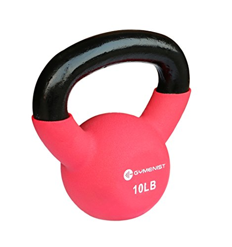 GYMENIST Kettlebell Fitness Iron Weights with Neoprene Coating Around The Bottom Half of The Metal Kettle Bell (10 LB), Red