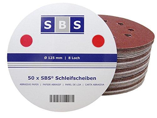 SBS Klett-Schleifscheiben | ø 125 mm | Korn 150 | 50 Stück | für Exzenter-Schleifer 8 Loch