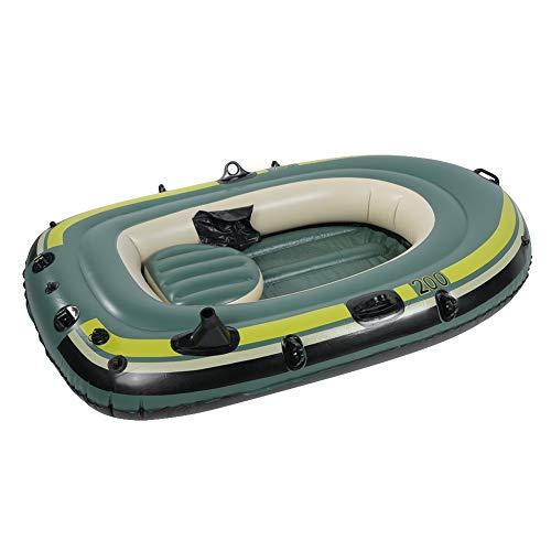 Joycelzen Faltbares Schlauchboot, Tragbares Schlauchboot aus PVC Tragbares Kajakfloßboot mit Seil für Zwei-Personen-Kanu-Luftkissenfahrzeug zum Rudern Bootfahren Angeln Spielen auf Seen, Flüssen, Grün
