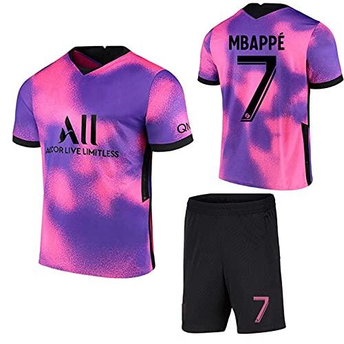 FURUN Paris Football Jersey Uniform Fußball Trikot für Kinder und Erwachsene Herren Jersey, 7#Mbappé 10#Neymar Fan Fußballtrikots Fußballtraining Trainingsanzug, T-Shirt +Shorts 20-21,lila