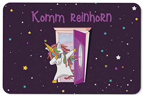 Tassenbrennerei Einhorn Fußmatte mit Spruch Komm Reinhorn - Türmatte lustig - Waschbar für innen & außen - Deutsche Qualität