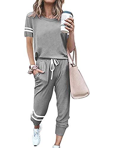 BUOYDM Conjunto Deporte Mujer Chándal Deportivo Dos Piezas Sweatshirt + Pantalones Ropa de Casa Casual Pijama Yoga Sportswear