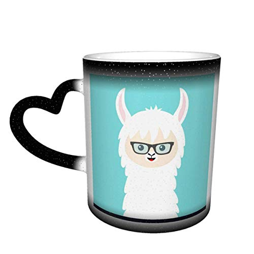 Taza de café de cerámica que cambia el calor, cara de animal de Alpaca Llama en gafas de sol, taza de té mágica sensible para café, té, leche o cacao para hombres y mujeres