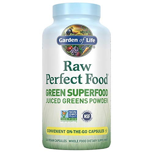 Garden of Life Raw Perfect Food Green Superfood Juiced Greens Powder Capsules - 30 Servings, Non-GMO,...