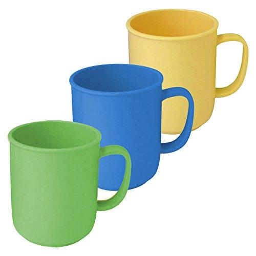 3 Tassen mit Henkel à 300 ml wiederverwendbar aus Kunststoff in den Farben Gelb, Blau und Grün, Kaffeetasse Teetasse Becher Henkelbecher Henkeltasse
