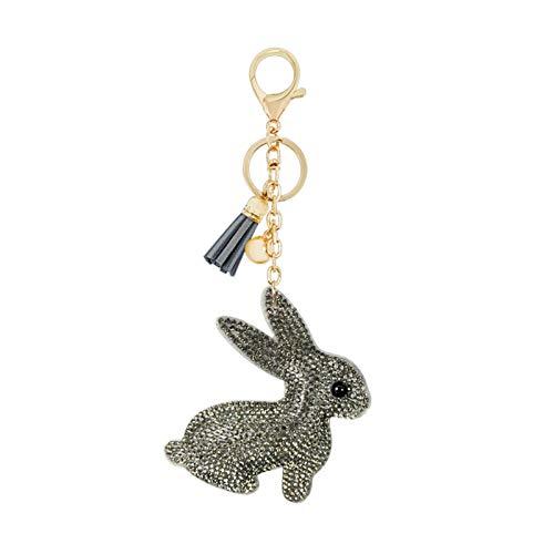 YSCSTORE HumoliStore Llavero Lindo del Conejo del Rhinestone, tamaño: 18 * 8 * 8 cm, Franela Colgante Bolsa de Borla Fresca Encanto Mano de Obra Exquisita (Color : 1)