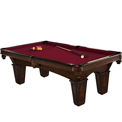 Brunswick 8 Foot Glen Oaks Pool Table with Merlot Contender Cloth and Play Kit: Billiard Ball Set, Cues, and Accessories.