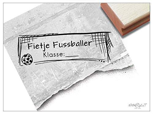 Stempel - Individueller Schulstempel FUßBALL Tor - Namensstempel personalisiert Name Klasse, Geschenk für Kinder Einschulung Schule - zAcheR-fineT