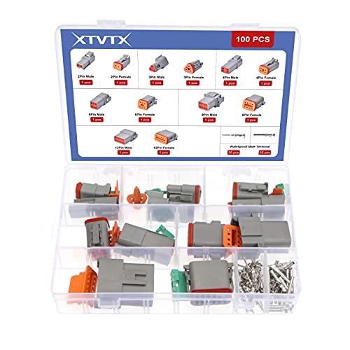 XTVTX 100 conectores de cable eléctrico 2 3 4 6 8 12 pines 16 – 22 AWG macho y hembra gris impermeable sellado para motocicleta, camión, barco, scooter