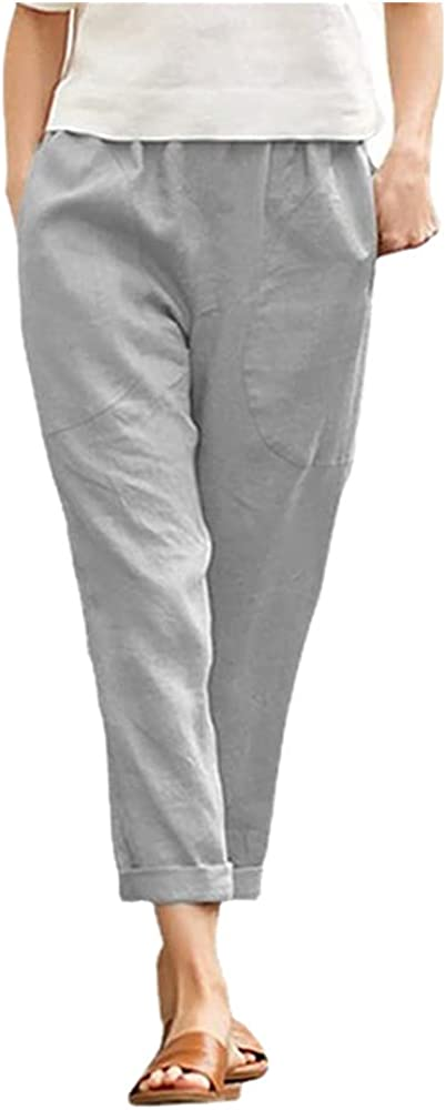 Casual Pants Women's Solid Color Nine-Point Pants Loose Women's Stretch Loose Pants Gray
