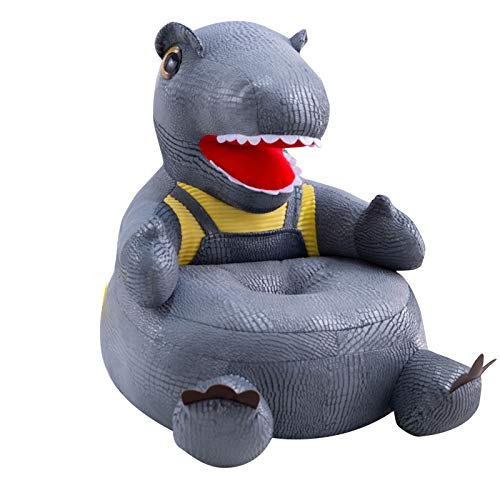 Qiuming Dinosaur-Shaped Plush Kids Sofa Cartoon Figure Soft Floor Chair Toy with Backrest & Armrest for Toddler Learning to Sit